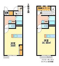 兵庫県姫路市白浜町神田1丁目の賃貸アパートの間取り
