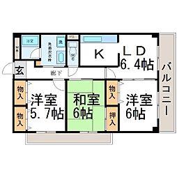 兵庫県尼崎市若王寺3丁目の賃貸マンションの間取り