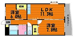 岡山県総社市井手丁目なしの賃貸マンションの間取り