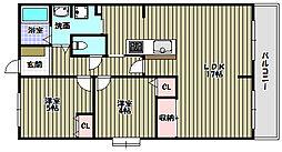 富田林グリーンマンション[4階]の間取り