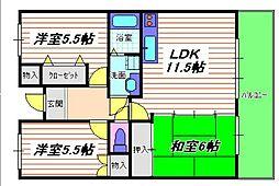 ガーデンハイツ桃山台弐番館[207号室]の間取り