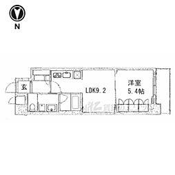 京都市営烏丸線 五条駅 徒歩13分の賃貸マンション 5階1LDKの間取り