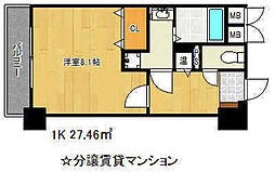 アドバンス三宮2ライズ 7階1Kの間取り