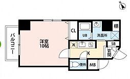 JR可部線 古市橋駅 徒歩4分の賃貸マンション 2階1Kの間取り