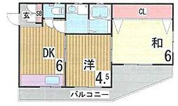 阪下マンション[202号室]の間取り