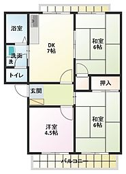 ベル友沢[1階]の間取り