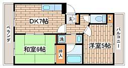 兵庫県神戸市長田区五位ノ池町3丁目の賃貸アパートの間取り