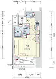 プレサンス神戸元町ベルシオン 8階1Kの間取り