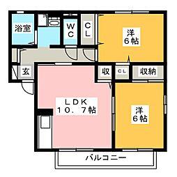 セジュールくれ竹B[2階]の間取り