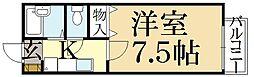 京都府京都市左京区松ケ崎芝本町の賃貸アパートの間取り
