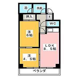 第13オーシャンビル[7階]の間取り