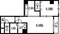 エステラ南3条館A[3階]の間取り