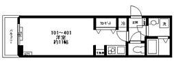 都営三田線 西巣鴨駅 徒歩2分の賃貸マンション 4階ワンルームの間取り