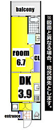 No.47 ORIENT PROJECT 2100 6階1DKの間取り