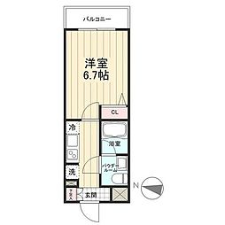 JR常磐線 亀有駅 徒歩8分の賃貸マンション 2階1Kの間取り