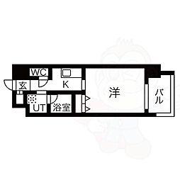 名古屋市営東山線 八田駅 徒歩1分の賃貸マンション 4階1Kの間取り