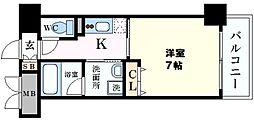 CASA京橋 3階1Kの間取り