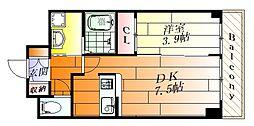 グランソレイユ2 3階1DKの間取り