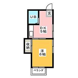 スリーゼヤマモト[1階]の間取り