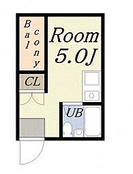 JPアパートメント港IV[2階]の間取り