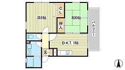 パディ飾磨[2-2B号室]の間取り