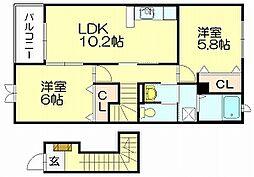 カレントDS和田[2階]の間取り