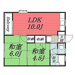 京成本線 京成佐倉駅 徒歩17分の賃貸アパート 2階2LDKの間取り