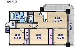 クリクアレセント住之江[9階]の間取り