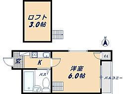 オーナーズマンション瓢箪山 2階1Kの間取り