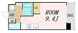 Osaka Metro谷町線 野江内代駅 徒歩5分の賃貸マンション 10階ワンルームの間取り