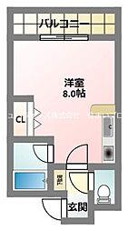京阪本線 萱島駅 徒歩10分の賃貸マンション 4階ワンルームの間取り