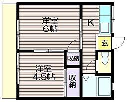 菊地コーポ[101号室]の間取り