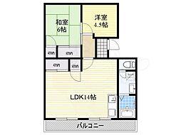 大阪モノレール本線 少路駅 徒歩8分の賃貸マンション 3階2LDKの間取り