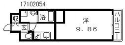 クローバーグランツ阿倍野[4階]の間取り