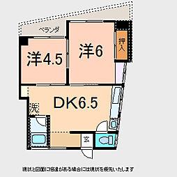 佐藤第一ビル 4階2DKの間取り
