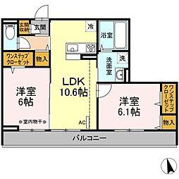 小田急小田原線 本厚木駅 バス14分 下依知入口下車 徒歩9分の賃貸アパート 3階2LDKの間取り
