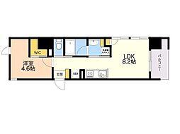 ラクレイス平尾山荘通り 9階1LDKの間取り
