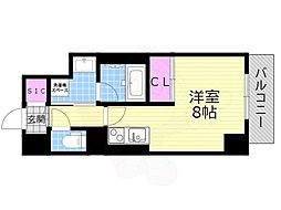 Osaka Metro長堀鶴見緑地線 西長堀駅 徒歩5分の賃貸マンション 2階ワンルームの間取り