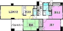 愛媛県松山市築山町の賃貸マンションの間取り