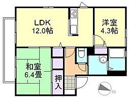 岡山県倉敷市北畝5丁目の賃貸アパートの間取り