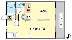 ルミエール東今宿B[B105号室]の間取り