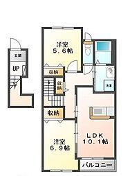 JR赤穂線 西大寺駅 徒歩20分の賃貸アパート 2階2LDKの間取り