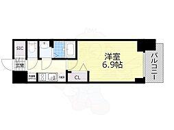 名古屋市営名城線 東別院駅 徒歩4分の賃貸マンション 11階1Kの間取り