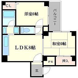 ストークアパートメント南堀江[2階]の間取り