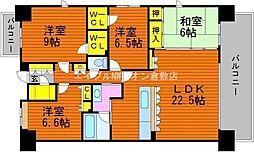 岡山県倉敷市稲荷町丁目なしの賃貸マンションの間取り