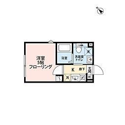 京王井の頭線 下北沢駅 徒歩9分の賃貸アパート 2階1Kの間取り