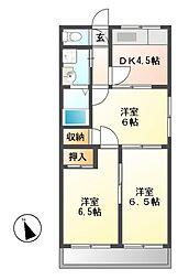 スカイハイツA棟[2階]の間取り