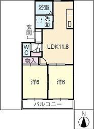 サニーウィング大野 参番館[1階]の間取り