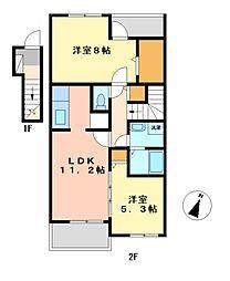 愛知県名古屋市中村区宿跡町1丁目の賃貸アパートの間取り