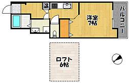 JR山陽本線 明石駅 徒歩25分の賃貸マンション 4階1Kの間取り